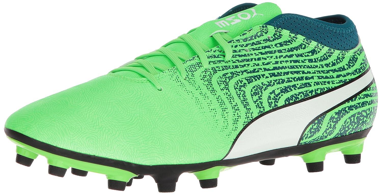 PUMA Men's One 18.4 FG Soccer Schuhe, Grün Gecko Weiß-Deep Lagoon, 7 M US