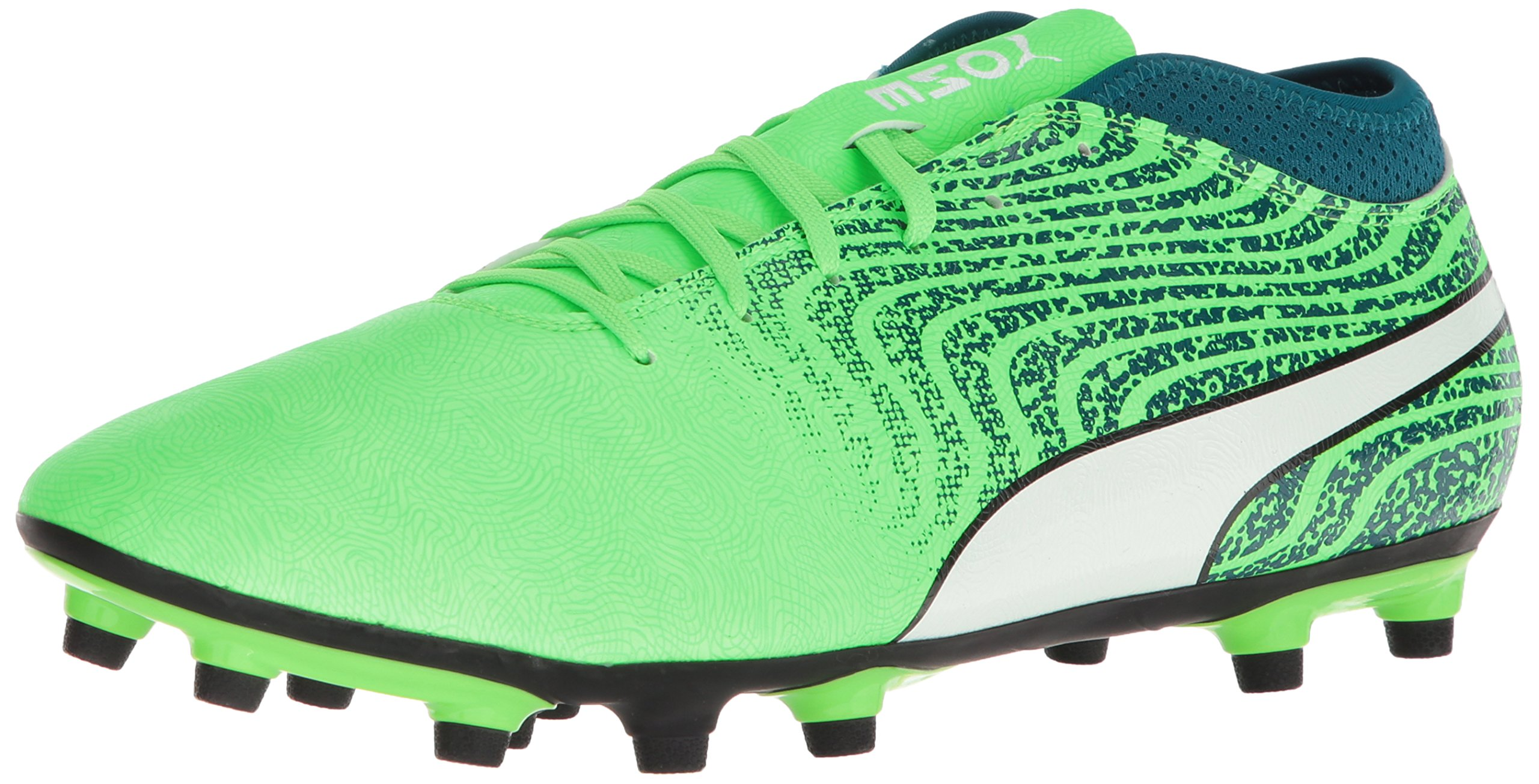 PUMA Men's One 18.4 FG Soccer Shoe, Green Gecko White-Deep Lagoon, 7 M US