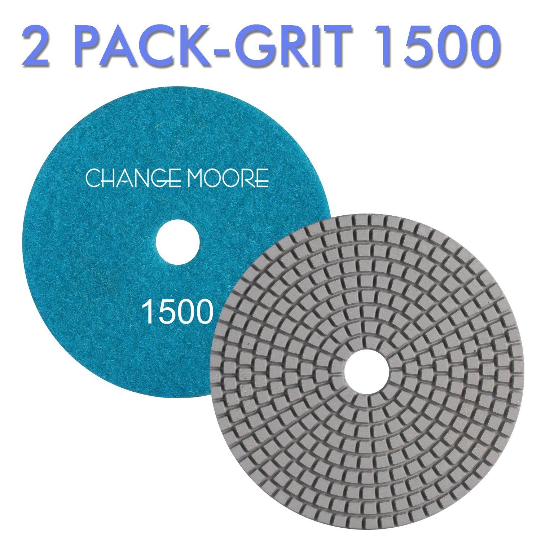 2 Pack-Grit 1500 CHANGE MOORE Wet Diamond Polishing Pads 5 Inch for Marble Granite Travertine Terrazzo Concrete Stones Quartz Countertop Floor