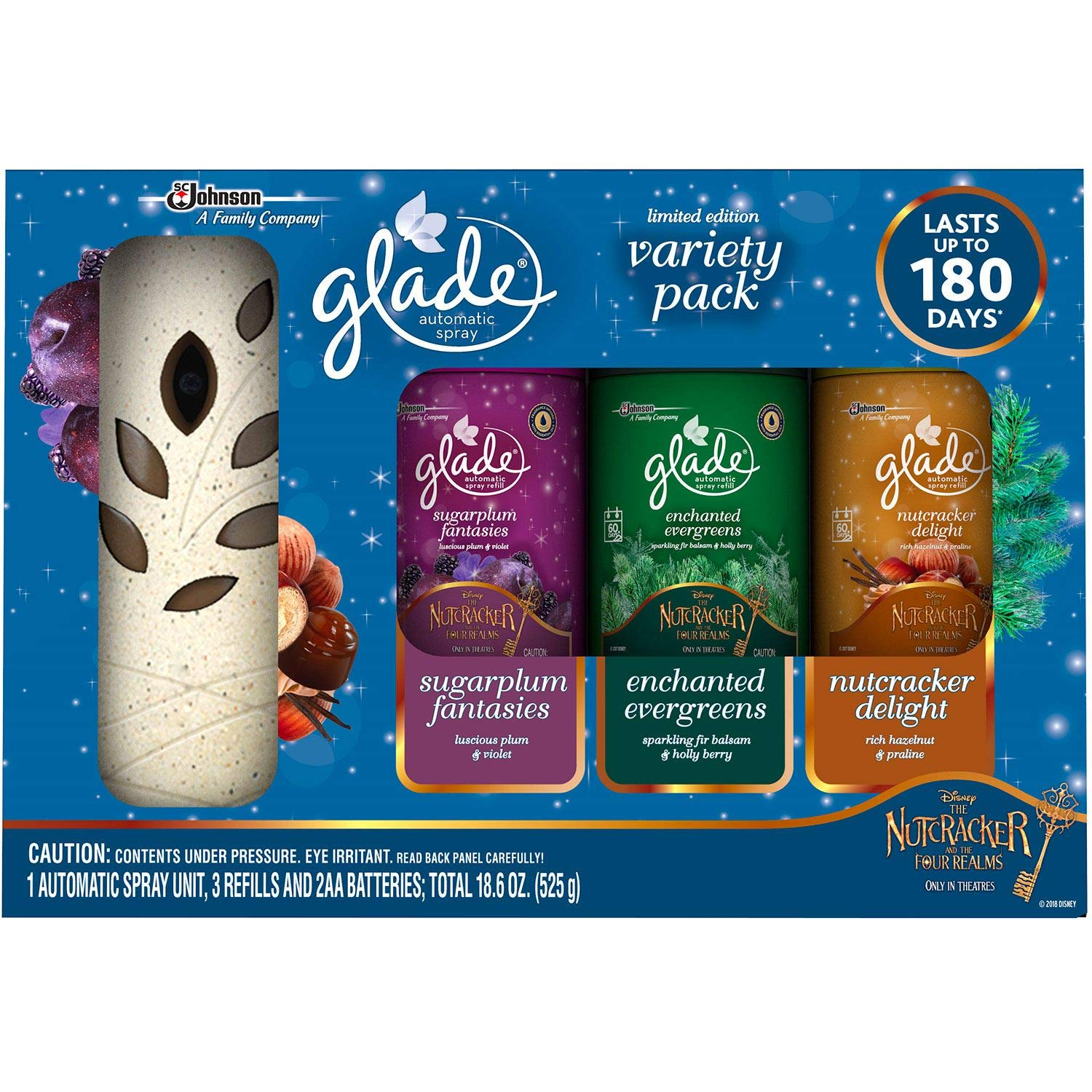 Glade Automatic Spray Starter + 3 Refills - Holiday Mixed Pack