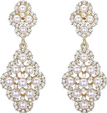 Boda Nupcial//Graduación//Claro Cristal Pendientes de Perlas de Imitación en Plata Chapado
