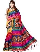 Vinayak Trendz Saree sale Women's Art Khadi Silk Sarees With Blouse Piece Sari(Saree Blue patta)