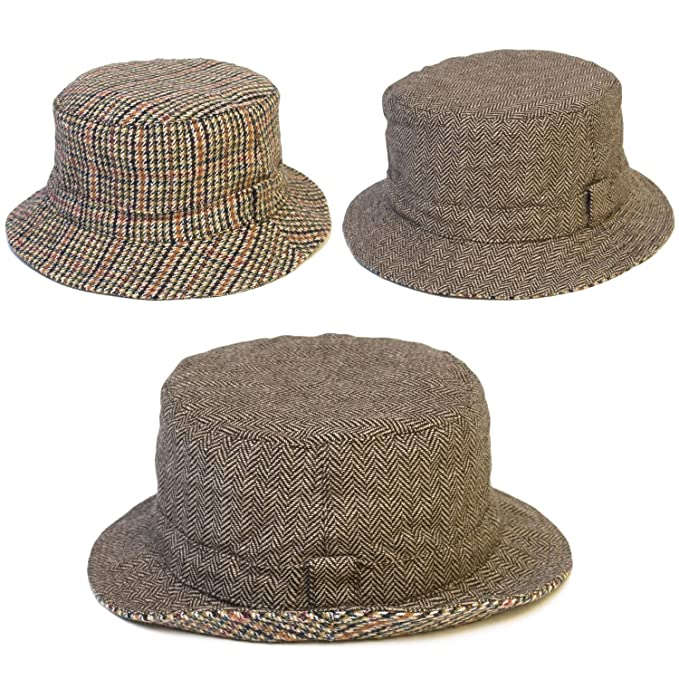 4f171b9a8bc d2d Unisex Herringbone   Hartwist Houndstooth Dogtooth Reversible Bucket Hat  - Brown (59 L) at Amazon Women s Clothing store