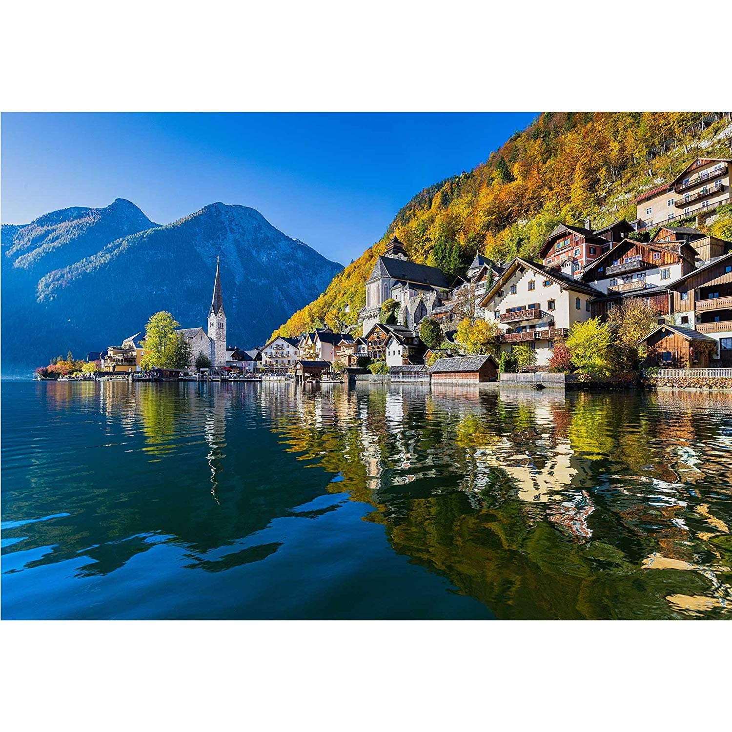 LanimioLOX Scenic Picture-Postcard View of Famous Hallstatt Mountain Village - Removable Wall Mural | Self-Adhesive Large Wallpaper