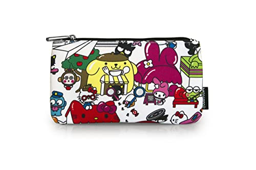 Amazon.com  Loungefly x Hello Sanrio Town Print Coin Cosmetic Bag  Shoes 7a2fe94582227