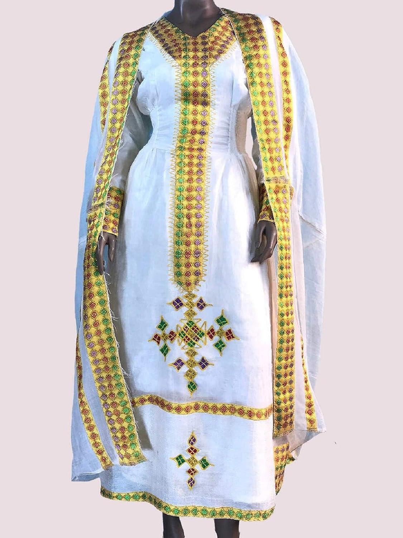 Amazon Com Ethiopian Eritrean Hand Made Dress Traditional Women S Clothing 100 Cotton Embroidered Habesha Kemis Dress Everything Else