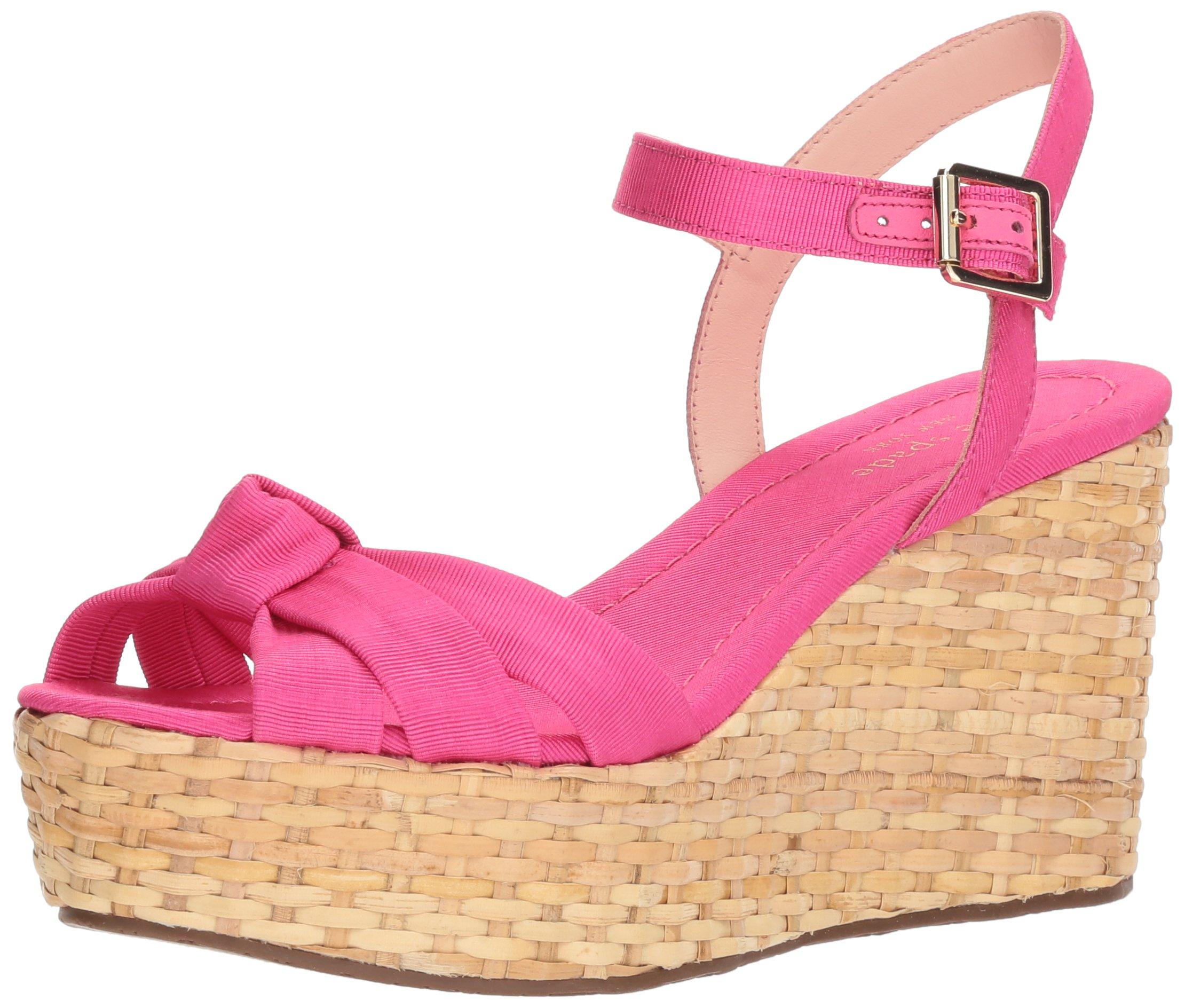 Kate Spade New York Women's Tilly Wedge Sandal, Pink Grosgrain, 8 Medium US