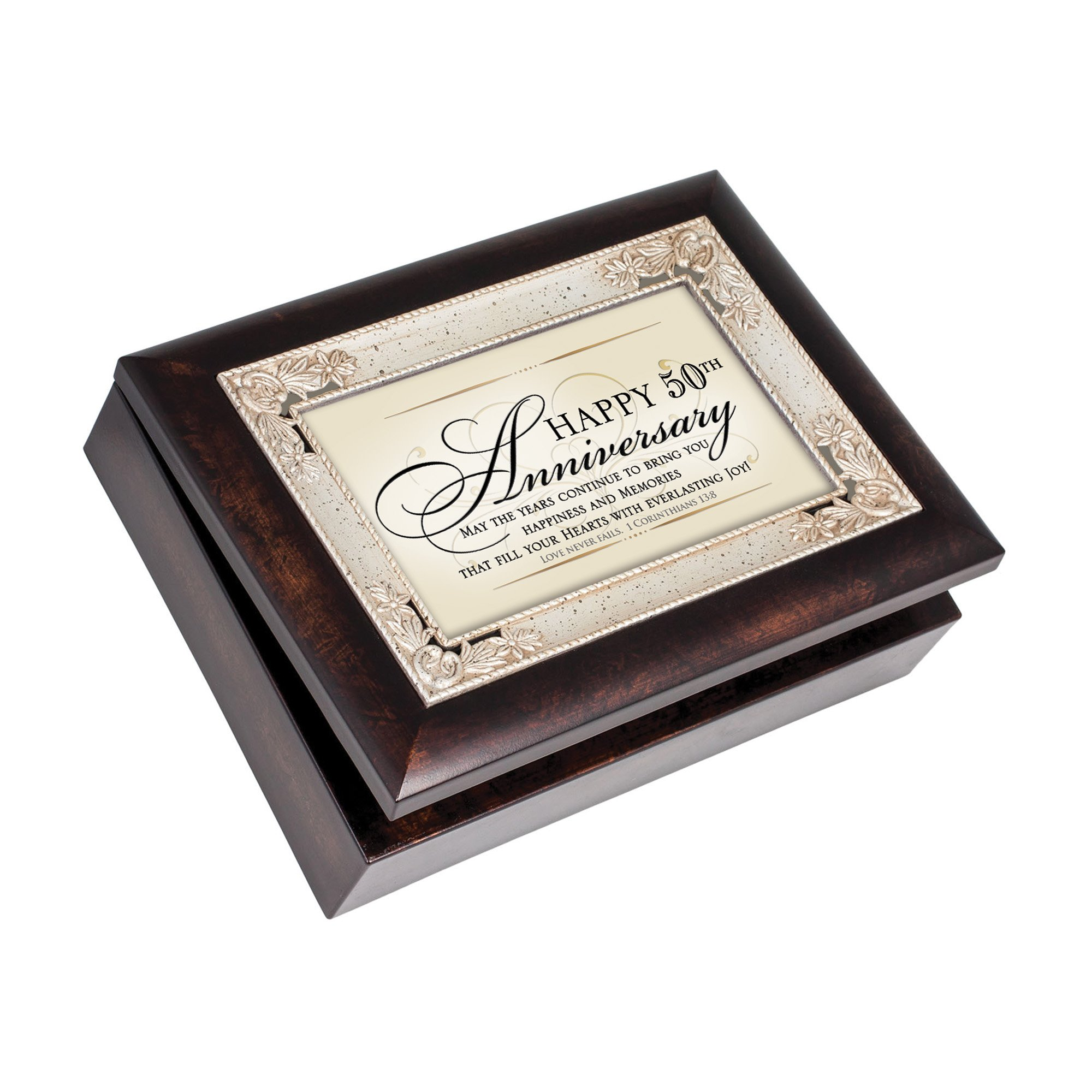 Cottage Garden Happy 50th Anniversary Burlwood Jewelry Music Box Plays How Great Thou Art