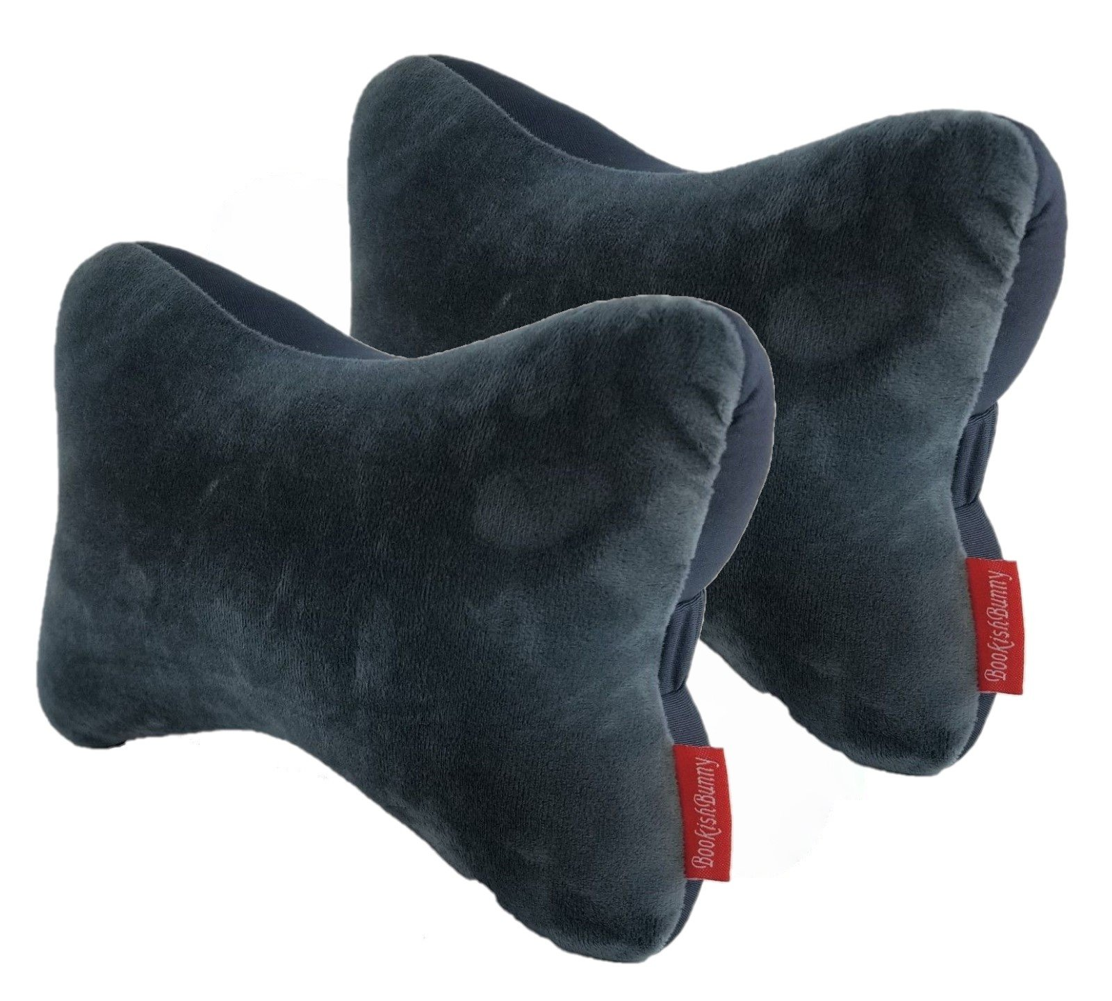 Bookishbunny 2pk Dog Bone Shaped Travel Neck Pillows Micro-Bead Car Bus Truck Driving Comfort Head Rest Support (Gray)