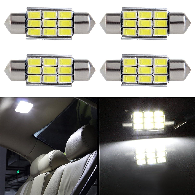 cciyu 4 Pack White Error Free CANbus 36mm 1.50' 9-5730-SMD 6418 C5W COB LED Bulbs DE3423 DE3425 C5W 3423 Interior Light Lamp 800969-5210-1908434