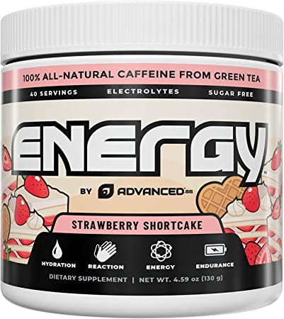 Energy by ADVANCED - Strawberry Shortcake - Natural Energy Boosting Formula with Added Vitamin C, B & Electrolytes for Hydration - Sugar-Free & Keto Friendly L-Theanine to Combat Jitters - 40 Servings