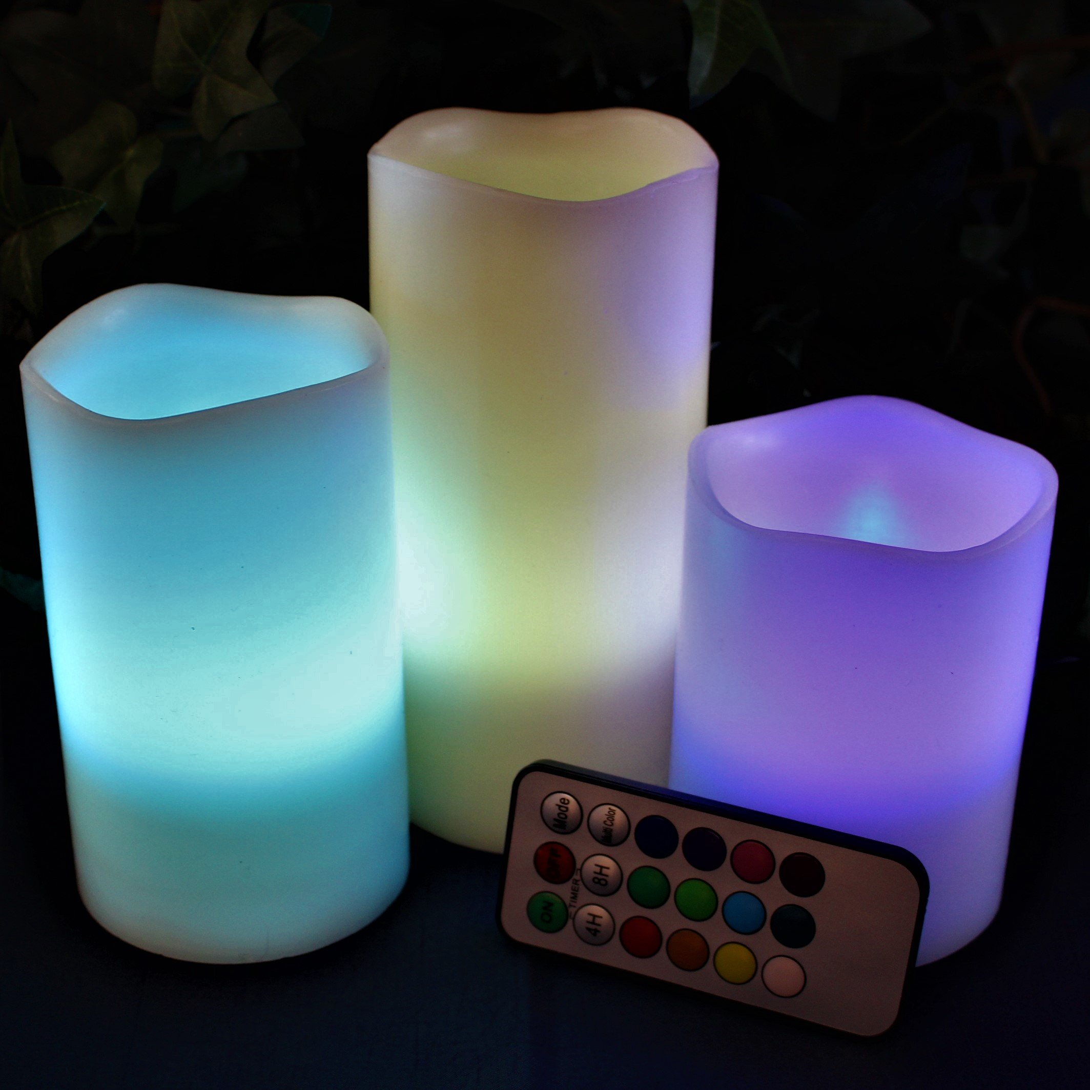 LED Lytes Flickering Flameless Candles - Battery Operated Candles Vanilla Scented Set of 3 Round Ivory Wax Flickering Multi Colored Flame, auto-Off Timer Remote Control Weddings Gifts by LED Lytes (Image #4)