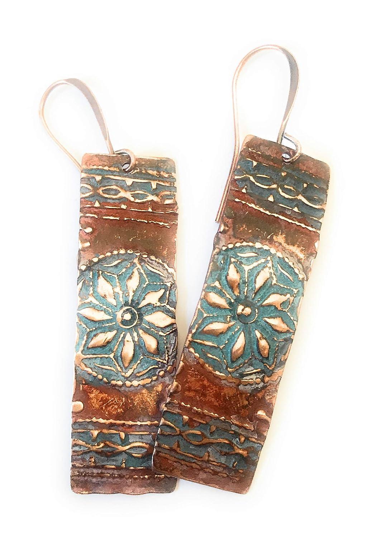 Boho Rustic Star Orange Turquoise Patina Copper Earrings Jewelry Gift Idea for Women