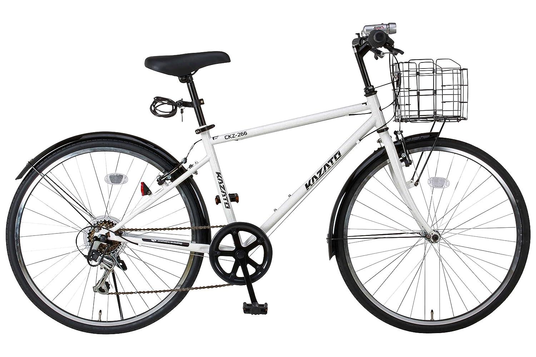 【カゴフロントライトワイヤー錠SET】KAZATO(カザト)CKZ-266 クロスバイク 自転車 26インチ シマノ製6段変速 前後フェンダー B00XQOGNZ8 白 白