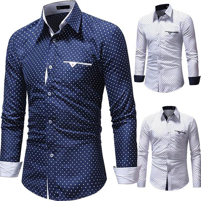 Winwintom -Camisas Hombre Camisas Hombre Manga Larga Fit Imprimir Long Sleeve Shirt Fit M L XL 2XL, 3XL, Camisa De Lunares para Hombres Mangas Largas Ajuste Delgado: Amazon.es: Ropa y accesorios