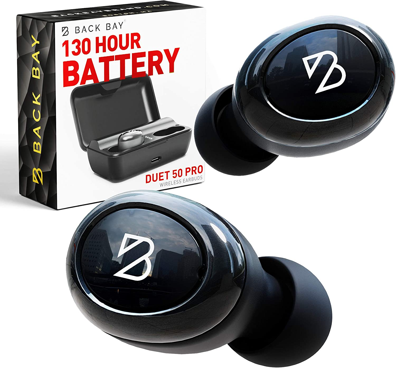 Duet 50 Pro - Wireless Bluetooth Earbuds. 130 Hour Long Battery Life for iPhone, Android. [Featured in Forbes] Phone Charger Mini Power Bank Case, Sweatproof TWS Headphones. aptX Sound for Running