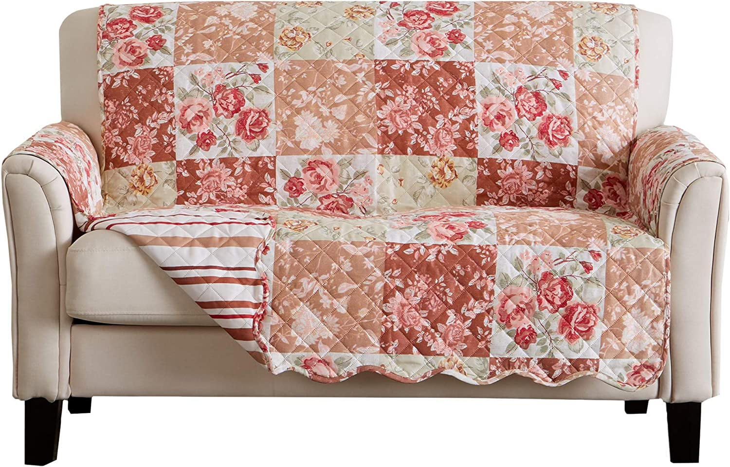 Great Bay Home Reversible Floral Patchwork Furniture Protector. Scalloped Edge Stain Resistant Printed Furniture Protector. Maribel Collection. (Loveseat, Burgundy/Taupe)