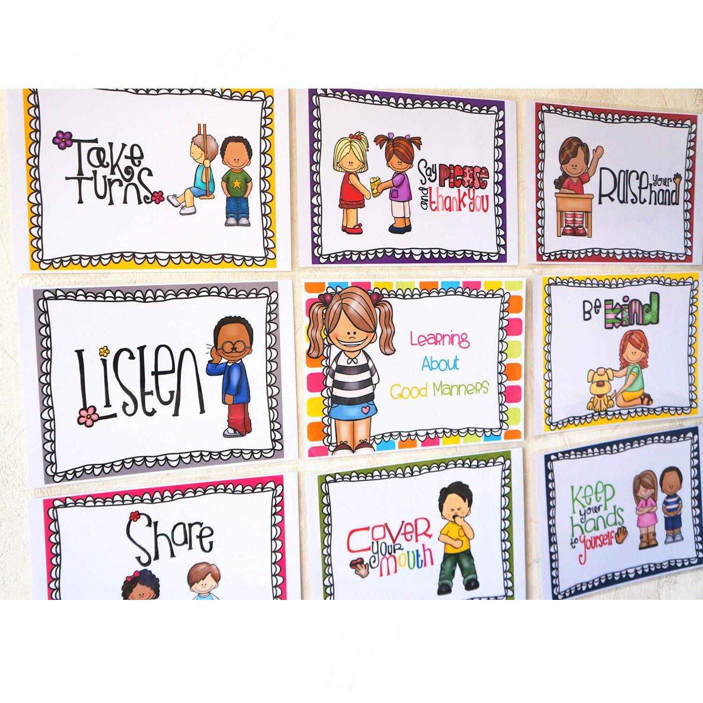 Santsun 9 Good Habits Polite Class Rules Teacher Classroom Signs English Poster Classroom Wall Decoration Class