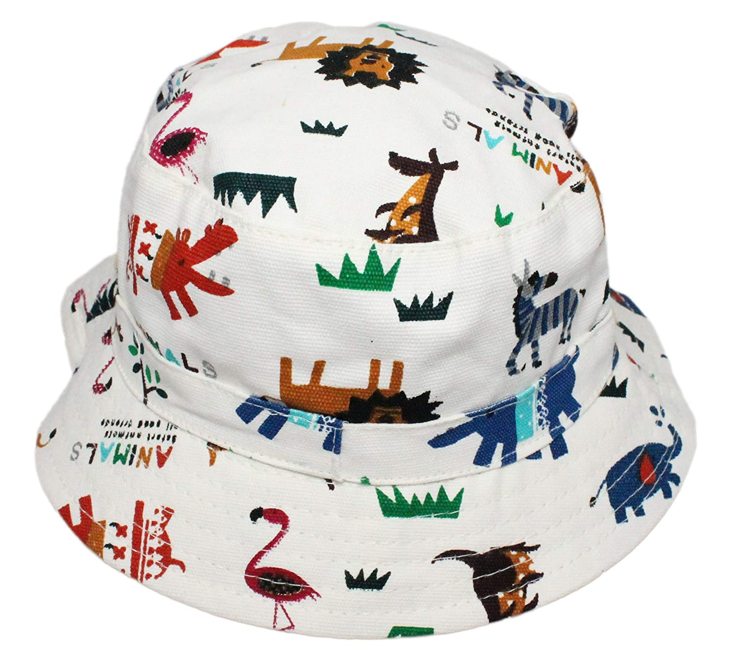Boys Girls Canvas Cotton Zoo Animal Bucket Sun Hat Age 6 Months up to 6 Years Old with Chin Strap