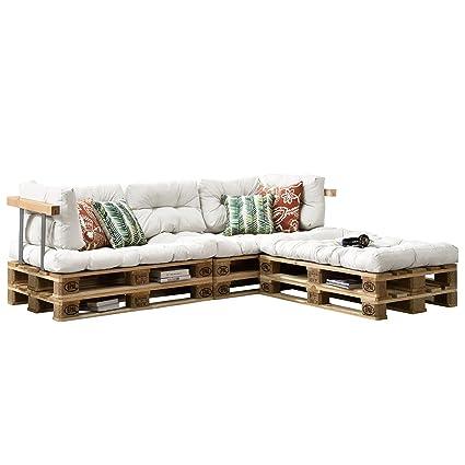 [en.casa] Cojines para sofá de palés europalés - set - 3 cojines de asiento + 5 cojines de respaldo blanco - muebles DIY - ideal para salón - sala ...