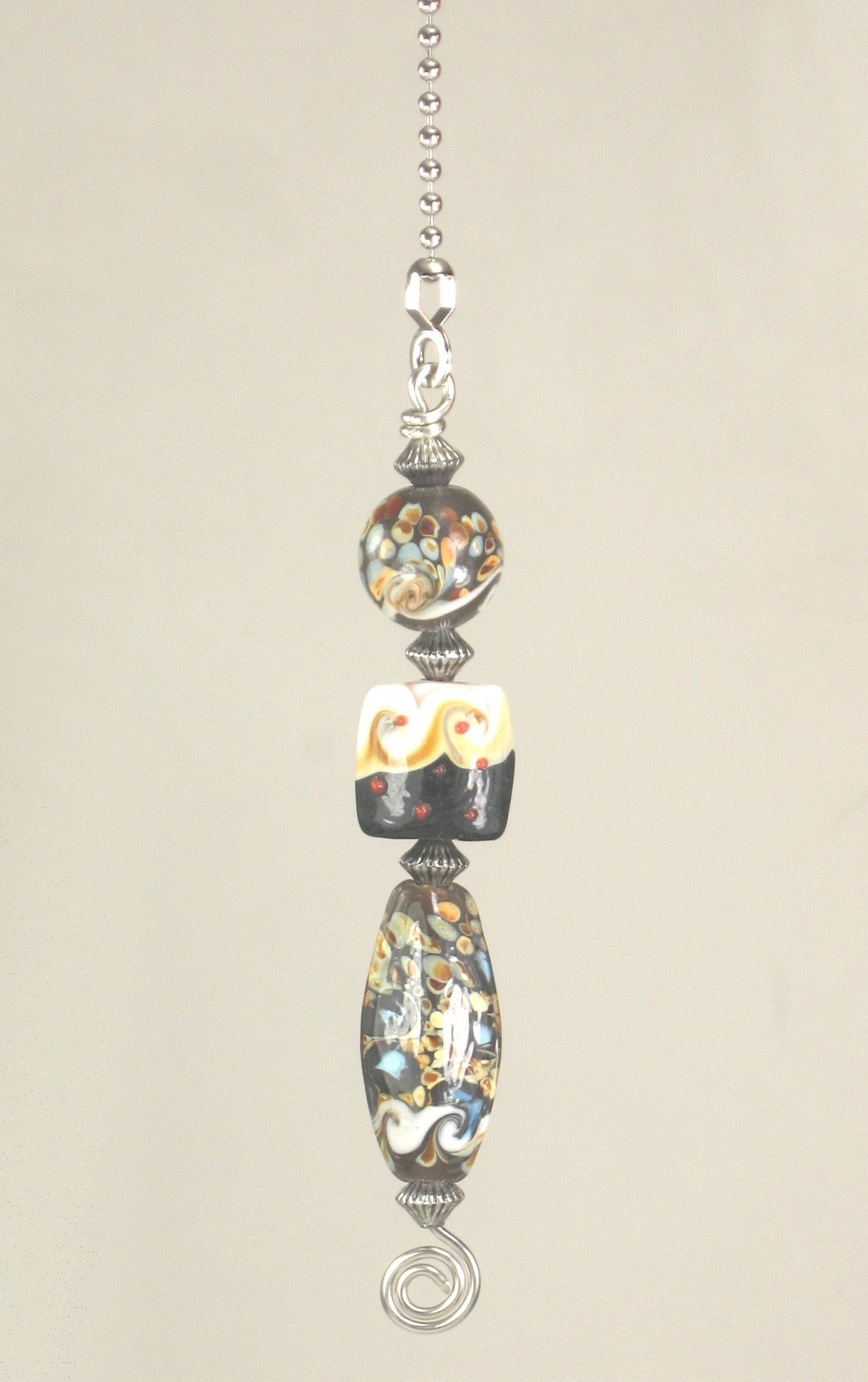 Colorful Glass Confetti Art Beads with White Waves Ceiling Fan Pull Chain