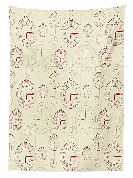 Clock Decor Tablecloth Vintage Watches With Roman Digits Wallpaper Pattern Decorative Illustration Dining Room Kitchen Rectangular
