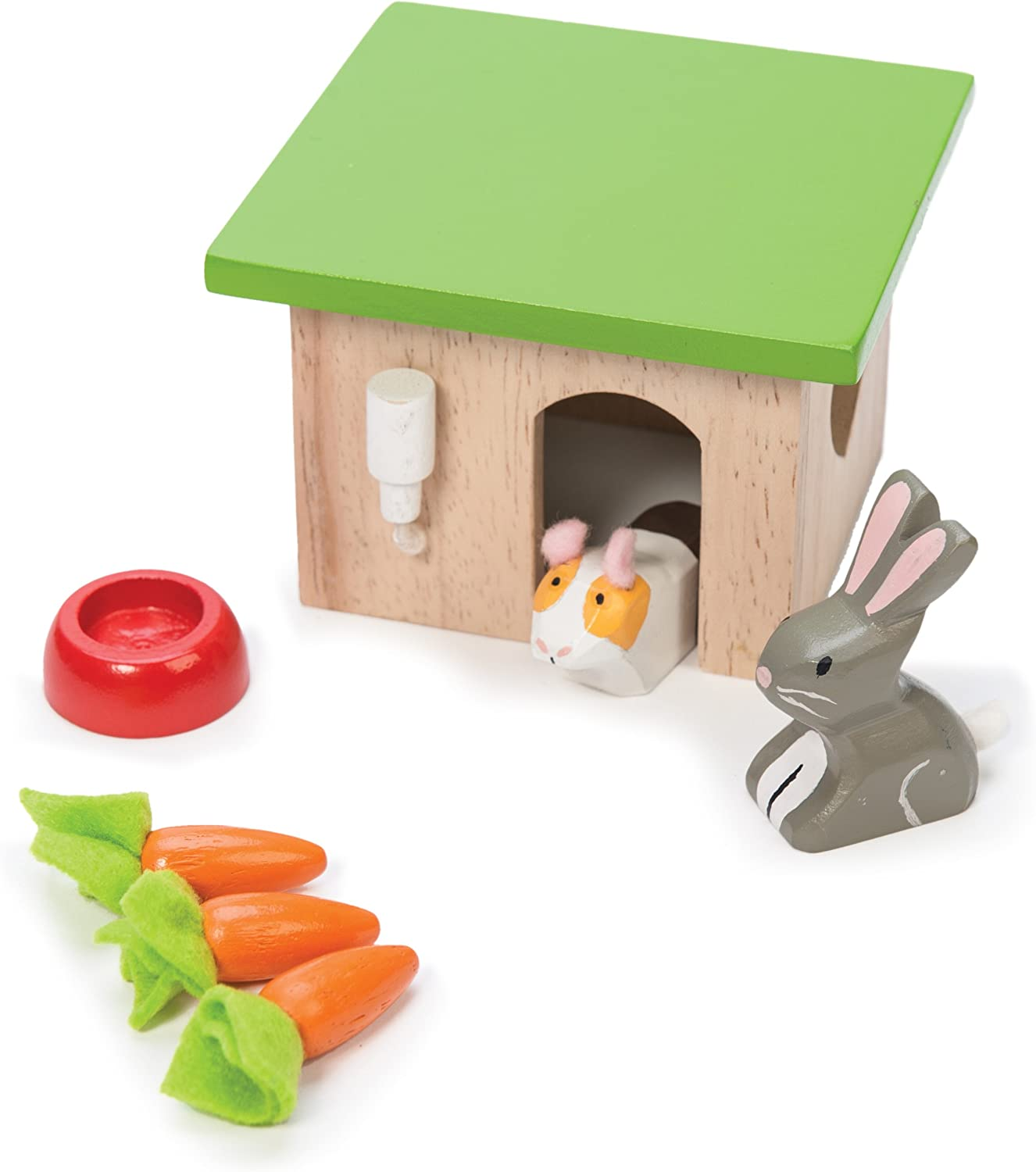 Le Toy Van - Adorable Wooden Daisylane Bunny & Guinea Accessories Play Set for Dolls Houses | Girls Dolls House Furniture Sets - Suitable for Ages 3+ (ME045)