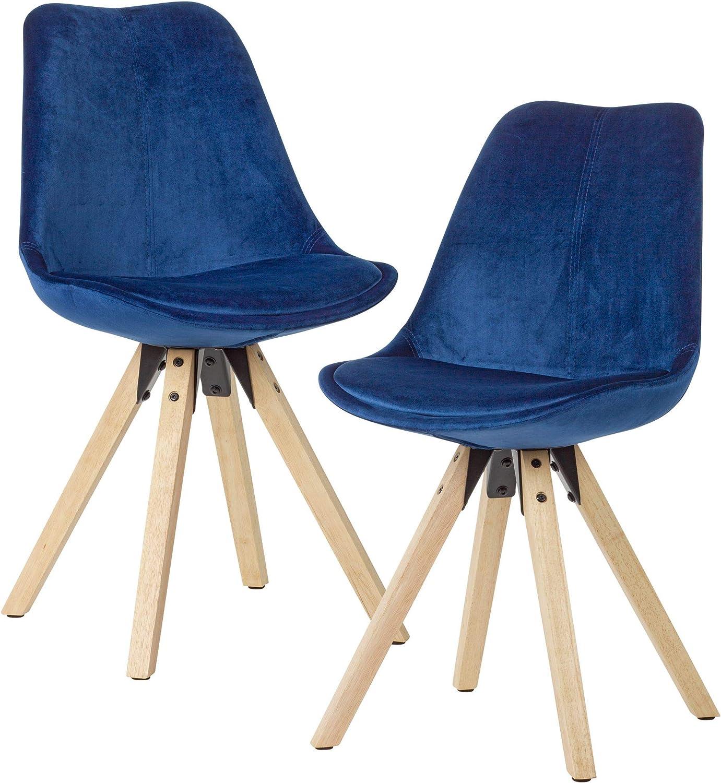 Stuhl im 4er Set Bezug Samt blau Holzgestell schwarz
