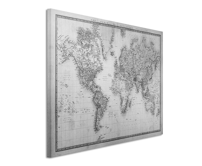 Canvas print 50 x 70 cm black white top quality world map 1860