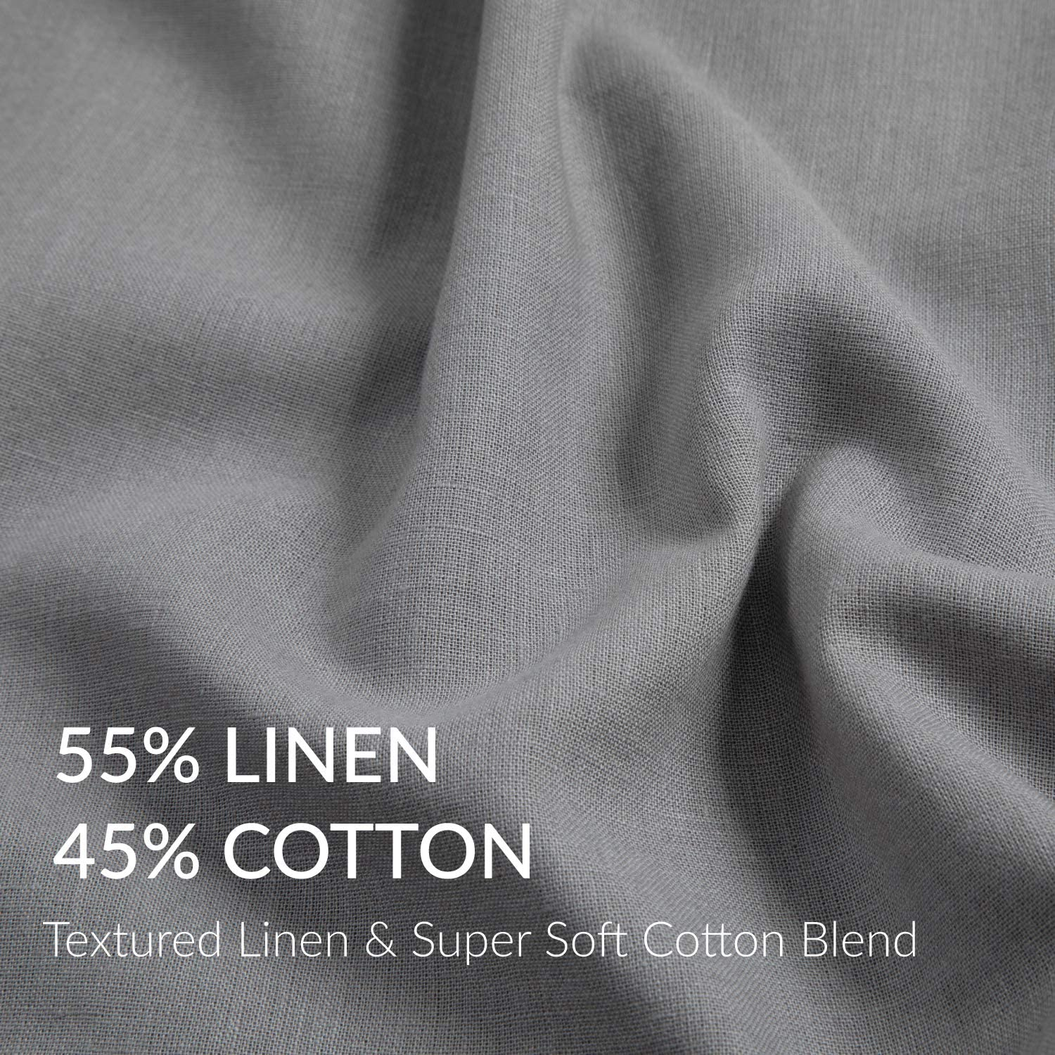 Coconut Button Closure Pillowcases for Hair and Skin Dark Grey 20x30 inches Breathable /& Moisture-Wicking Pillow Cover Bedsure 45/% Cotton /& 55/% Linen Pillow Cases Set of 2 Queen Size