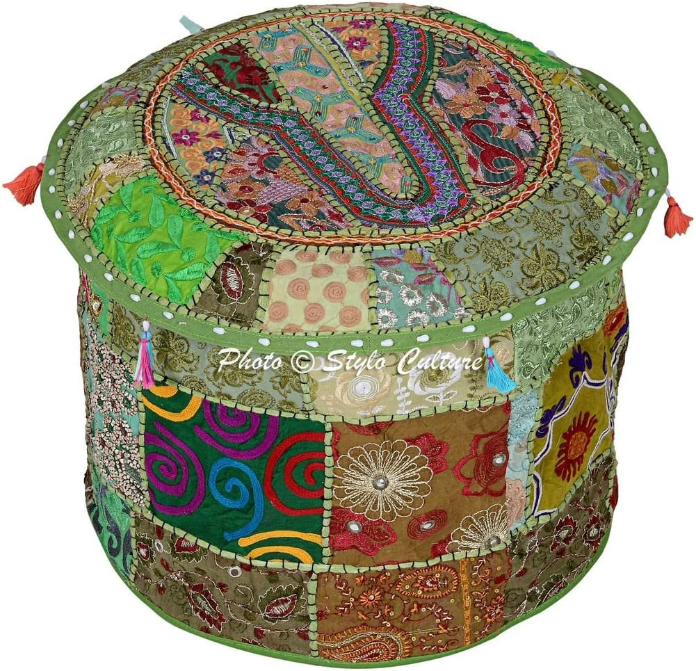 Stylo Culture Cotton Pouffe Stool Patchwork Embroidered Ottoman Stool Pouf Cover Green Floral Vintage Seating Cover Indian Tradtional Furniture