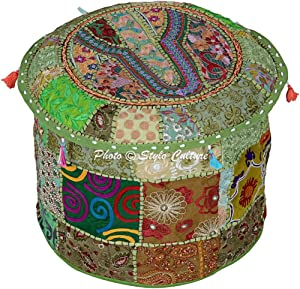 Stylo Culture Cotton Round Embroidered Patchwork Ottoman Vintage Patches Pouffe Stool Pouf Cover Green Floral 45 cm Footstool Floor Cushion Ethnic Bean Bag Home Decor