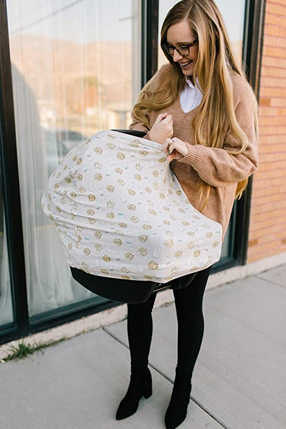 4.8 Ounces Copper Pearl Baby Car Seat Cover Canopy and Nursing Cover Multi-Use Stretchy 5 in 1 Gift Cookies /& MilkChip