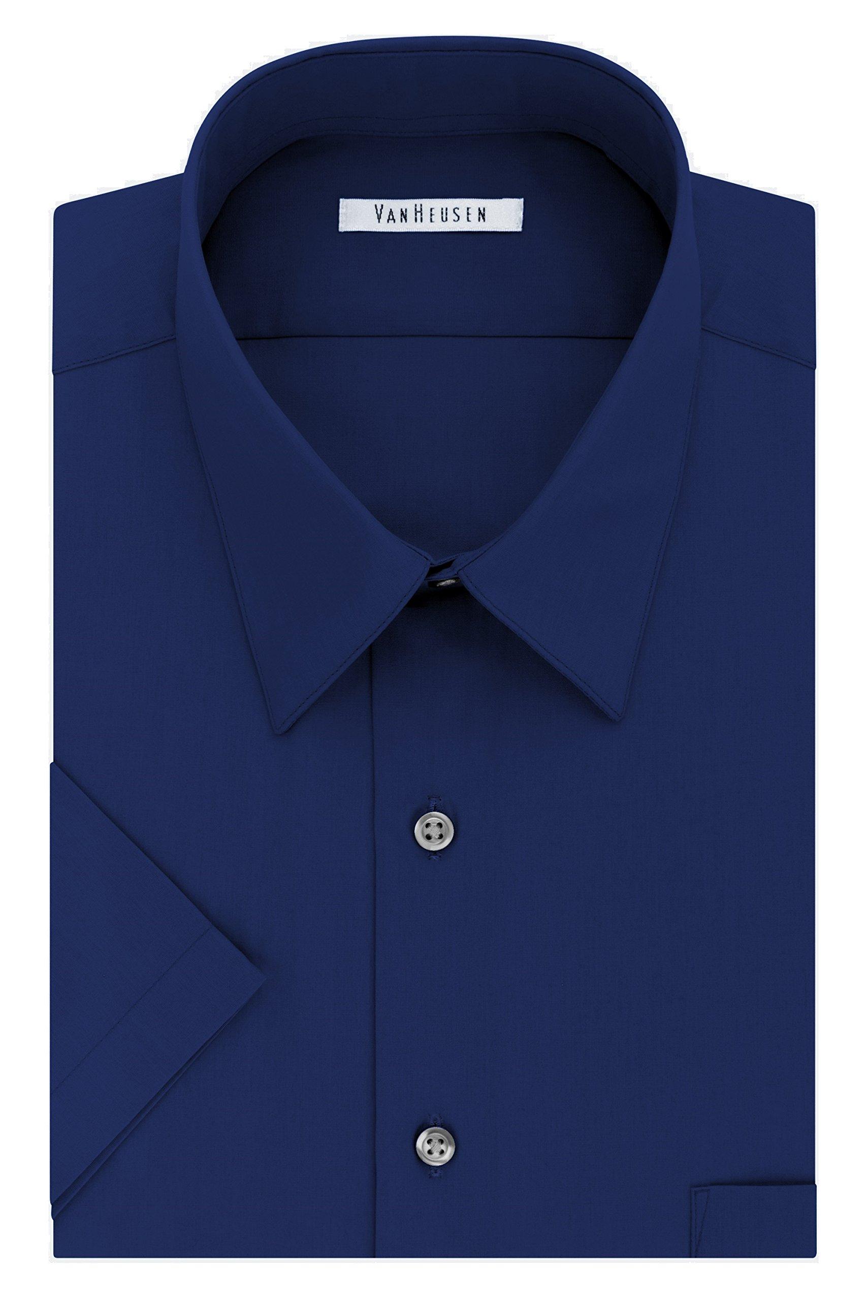 Van Heusen Men's Short Sleeve Poplin Solid Dress Shirt, Persian Blue, 16.5'' Neck