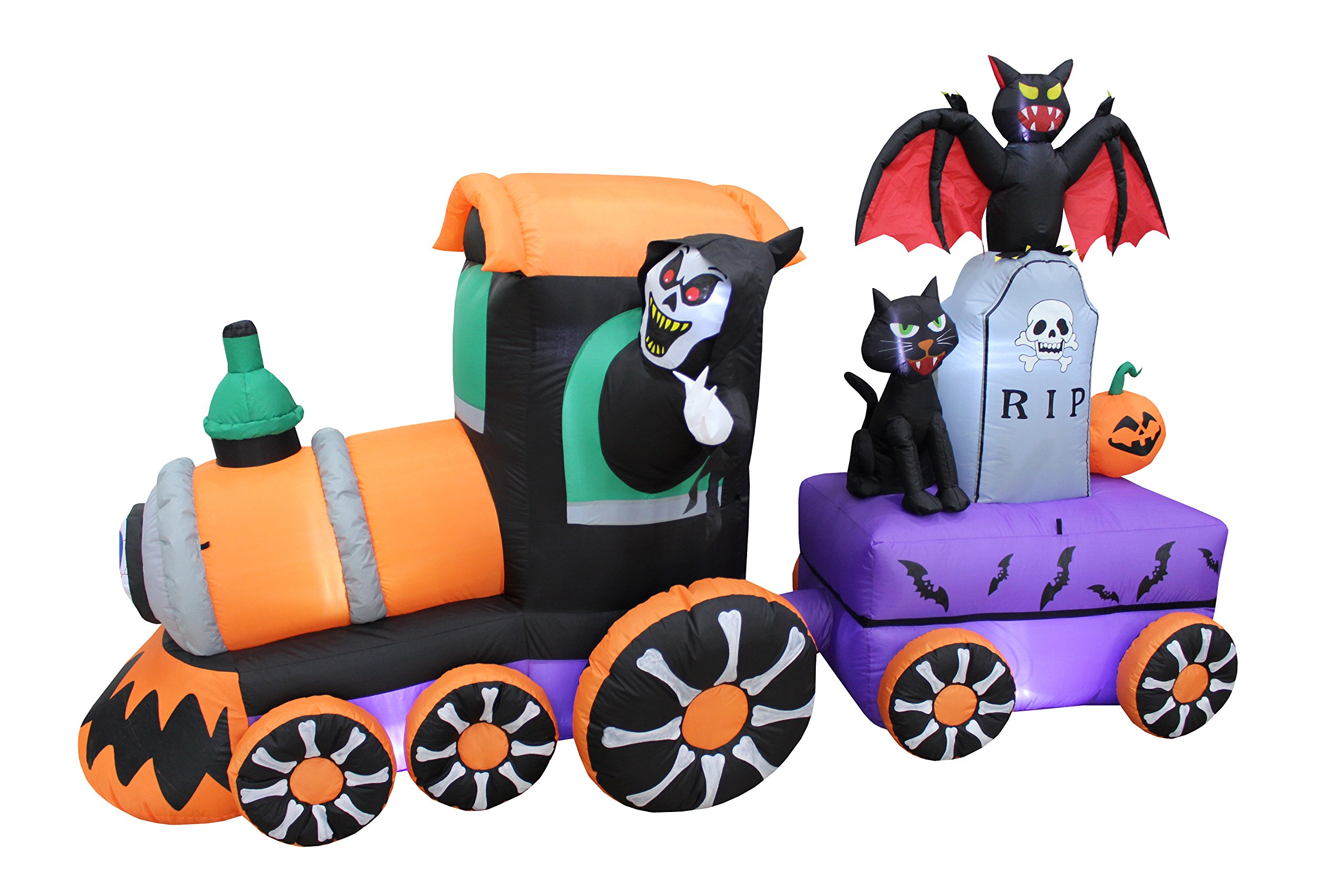 7 Foot Long Lighted Halloween Inflatable Grim Reaper Ride Train with Tombstone Cat Bat Pumpkin Indoor Outdoor Yard Art Decoration