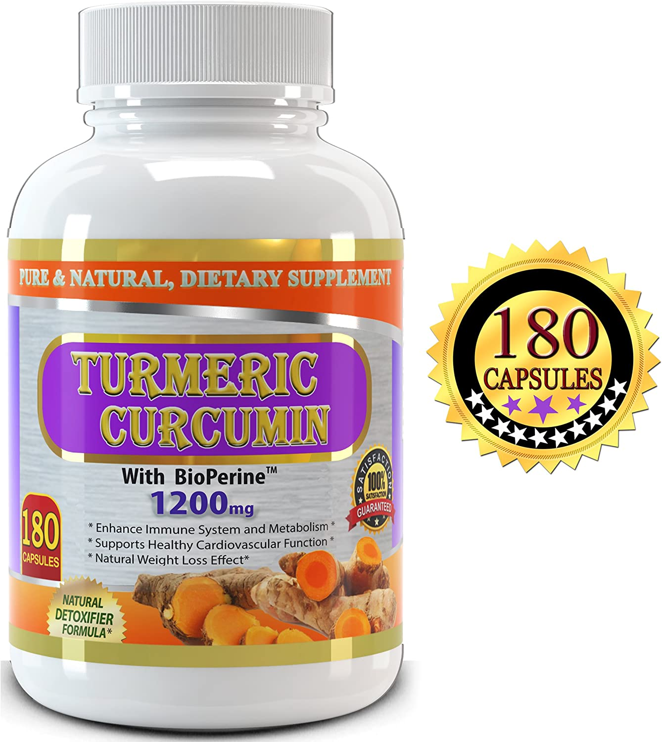 Pure Turmeric Curcumin with Bioperine, 180 Capsules, 1200 mg Serving – 3 Months Supply, Best Value on Market Experience the Benefits of the High Potency Turmeric Curcumin with Black Pepper Extract