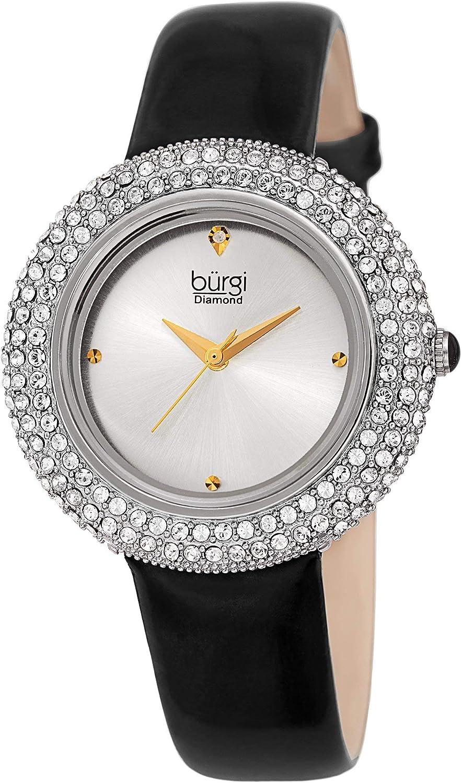 Burgi Women's Challenge the lowest price of Japan Swarovski Crystal Diamond Accented Brand new - Str Leather