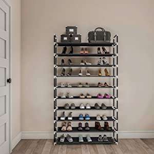 Lavish Home Shoe Rack-10 Tier Storage for Sneakers, Heels, Flats, Accessories and More-Space Saving Organization for Bedroom, Closet, or Garage