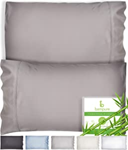 Bamboo Pillow Cases King Size Pillow Cases Set of 2 20x40-100% Organic Bamboo Pillow Cases King Pillow Cases Set of 2 King Pillow Case King Size Pillow Case King Pillow Case Stone Gray