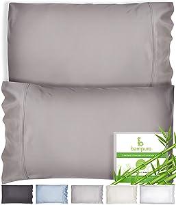 Bamboo Pillowcase Queen Bamboo Pillow Case Queen Size (20x30) - 100% Organic Bamboo Large Pillow Cases Cooling Pillowcase Cooling Pillow Cases Queen Cool Pillow Cases Set of 2 Pillowcases Stone Gray