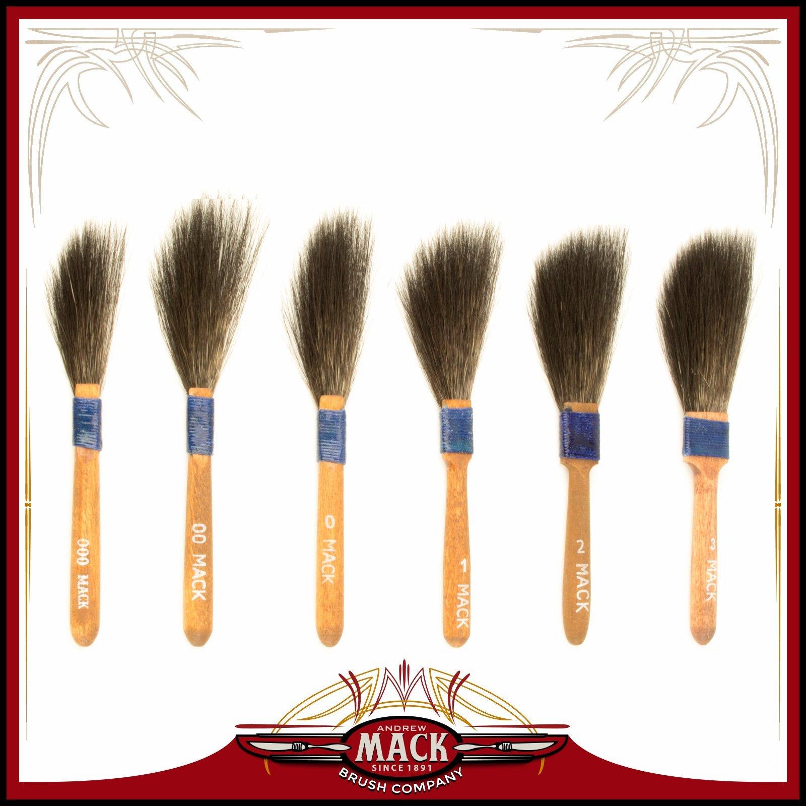 (6) Andrew Mack Brush Sword Striping Series 10 Sizes 000-3 Pinstriping Brushes