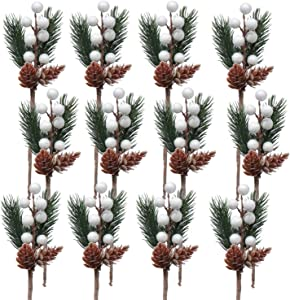Artificial Pine Picks, SPWOLFRT 12 Pieces White Christmas Berries/Berry Stems Pine Branches & Artificial Pine Cones/Wreath Picks for Winter Décor, Holiday Crafts, Xmas Decorations (White)