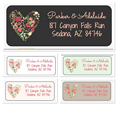 Floral Heart Personalized Address Labels, Set Of 30, Personalized Wedding Address Labels, Engagement Labels, Bridal Labels: Handmade