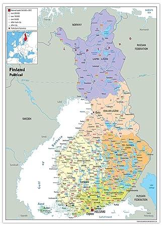 Finnland Politische Karte Papier Laminiert Ga A2 Size 42 X
