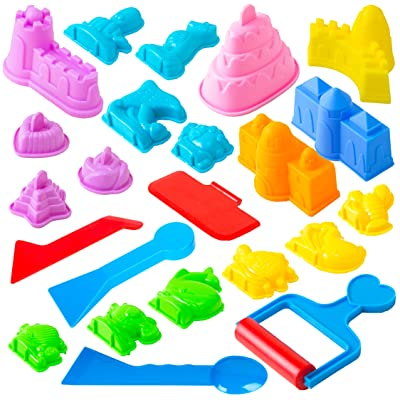 USA Toyz Sand Molds - 23pk Mini Sandbox Toys, Sand Castle Building Kit Compatible with Any Molding Sand: Toys & Games