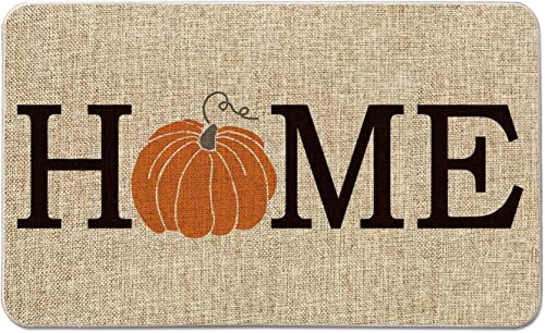 Artoid Mode Home Pumpkin Decorative Doormat, Seasonal Fall Harvest Vintage Thanksgiving Low-Profile Floor Mat Switch Mat for Indoor Outdoor 17 x 29 Inch