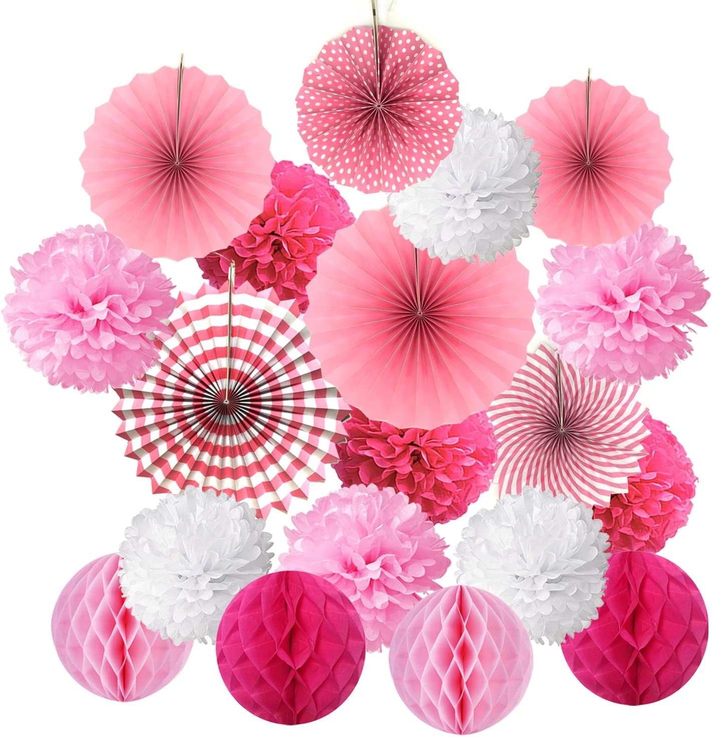 6x Paper Fan Flowers Wedding Baby Birthday Party Tissue Paper Table Decor Pink