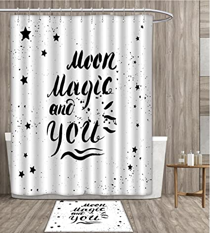 Romantic Shower Curtain Customize Moon Magic And You Inspirational Messy Modern Brush Pen Calligraphy With Stars