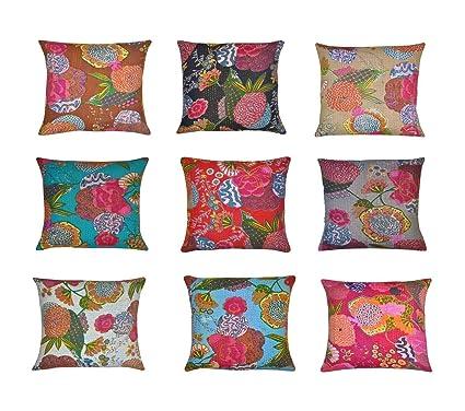 Amazon Com Indian Kantha Throw Cushion Cover Indian Home Decor