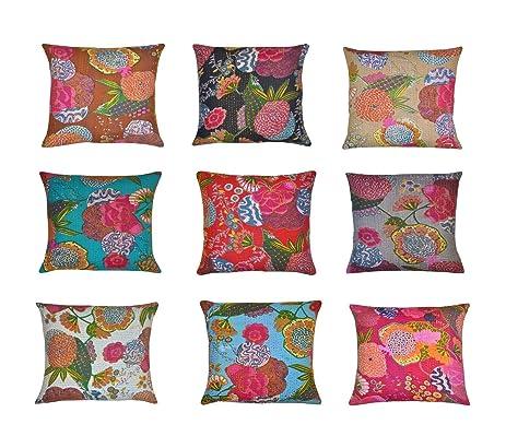 Indian kantha Throw Cushion CoverIndian Home Decor Pillow CasesIndian Decorative Cushion Cover